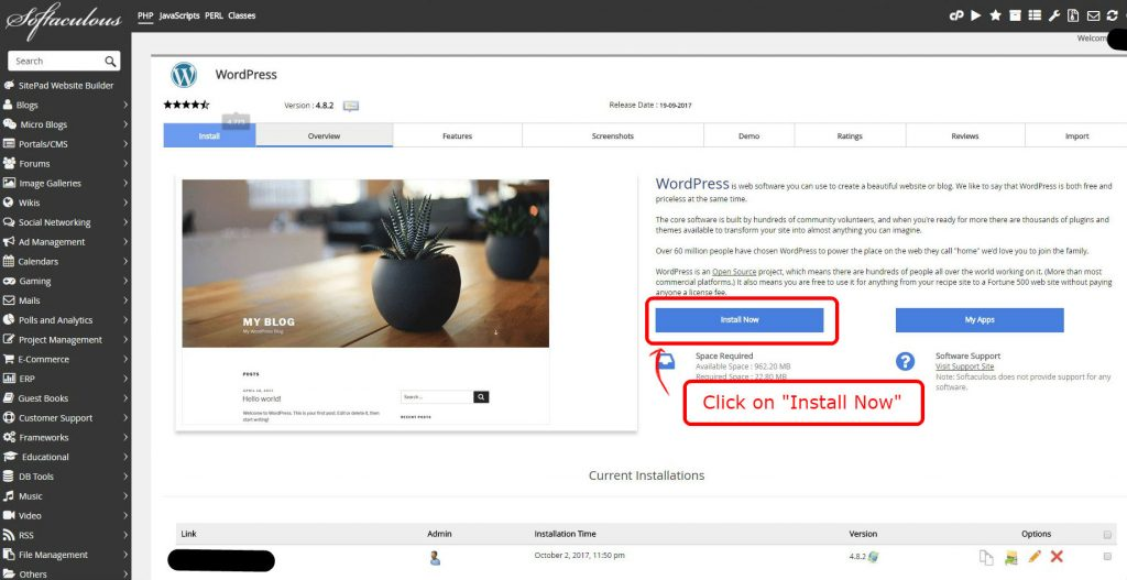 Softaculous WordPress installation 2
